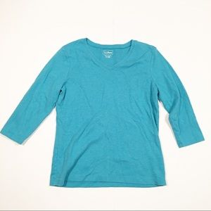L. L. Bean blue v-neck 3/4 sleeve t-shirt small